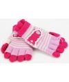 2 in 1 meisjes handschoenen lichtroze/roze