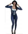 Blauwe bodysuit met doodskop