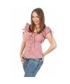 Cowboy blouse met plofmouwtjes dames rood/wit