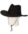 Toppers Cowboyhoed zwart suede look