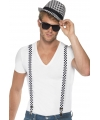 Geblokte bretels met hoed