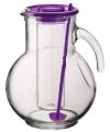 Glazen schenkkan met koelfunctie paars