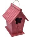 Houten vogelhuisje rood 24 cm