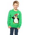 Kersttrui groen met pinguin voor kinderen