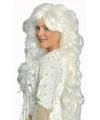 Krullende lange damespruik wit