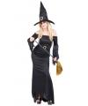 Lange zwarte heksenjurk