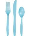 Lichtblauw plastic bestek 24 delig
