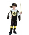 Musketier kinder kostuum zwart/goud