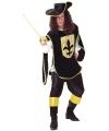 Musketier kostuum zwart met goud