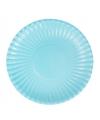 Platte kartonnen bordjes lichtblauw 23 cm