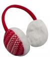 Rode oorwarmers pluche met Nordic print