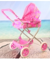 Roze poppen wandelwagen met aardbeien
