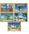 Vijf decoratie posters Piraten thema