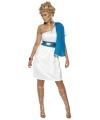Wit met blauw romeins jurkje