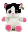 Wit met zwarte kat knuffel 23 cm