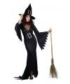 Zwarte lange heksen jurk