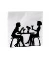 Zwarte servettenhouder met 2 vrouwen