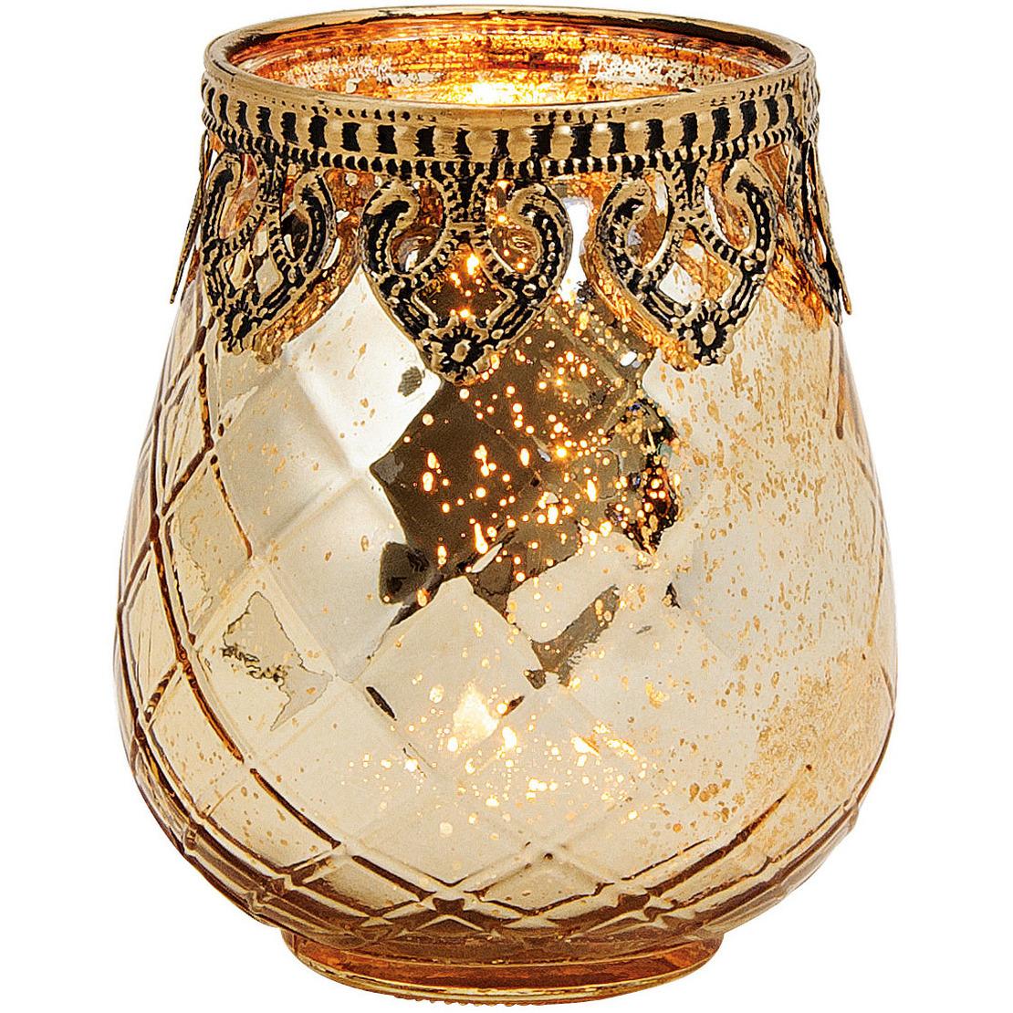 1x Glazen kaarsenhouders voor theelichtjes/waxinelichtjes 9 x 10 cm Oosters -