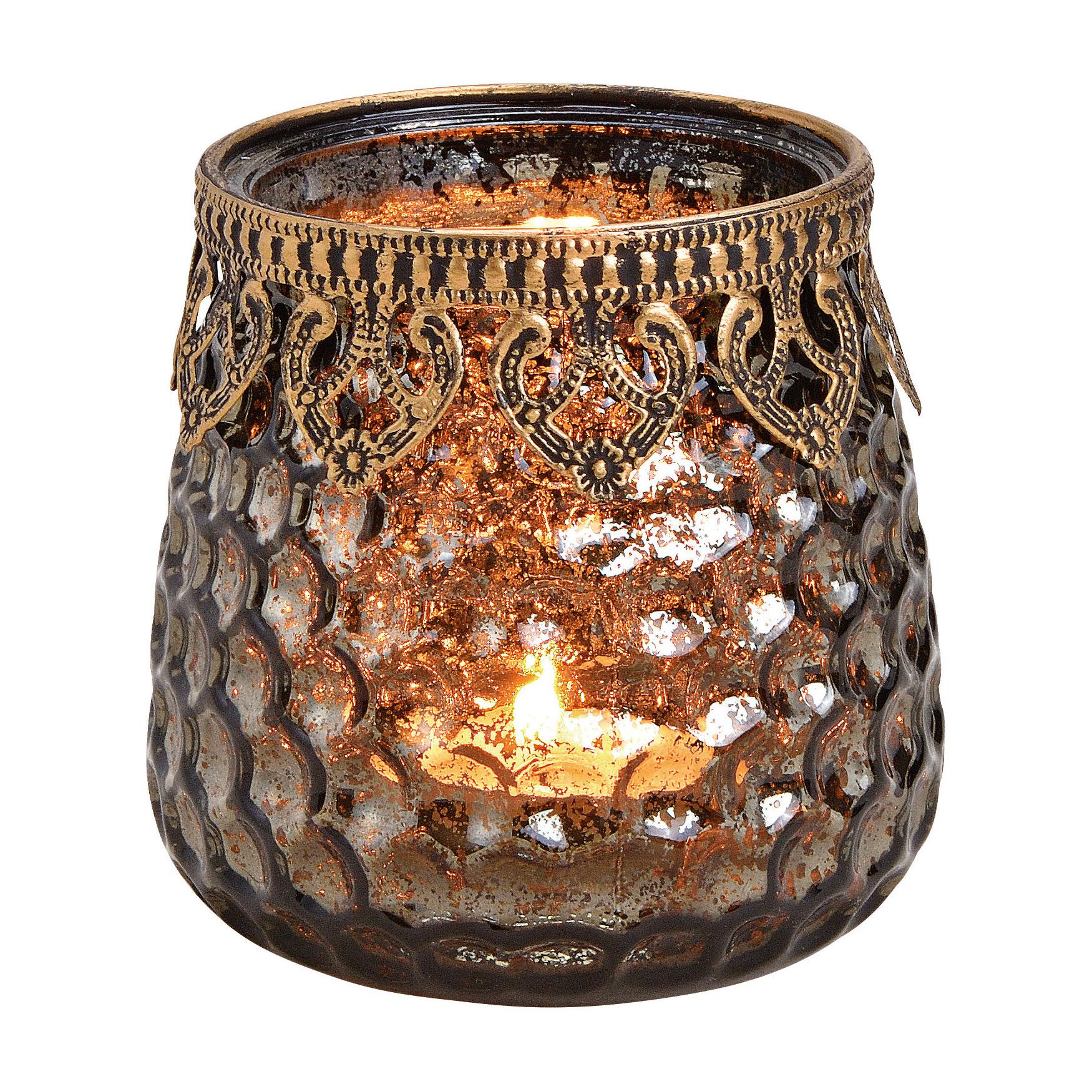 1x Glazen kaarsenhouders voor theelichtjes/waxinelichtjes 9 x 9 cm antieklook/Oosters -