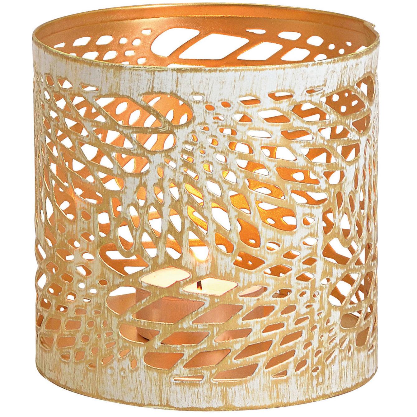 1x Kaarsenhouders voor theelichtjes/waxinelichtjes wit/goud abstract vleugel patroon 11 cm -