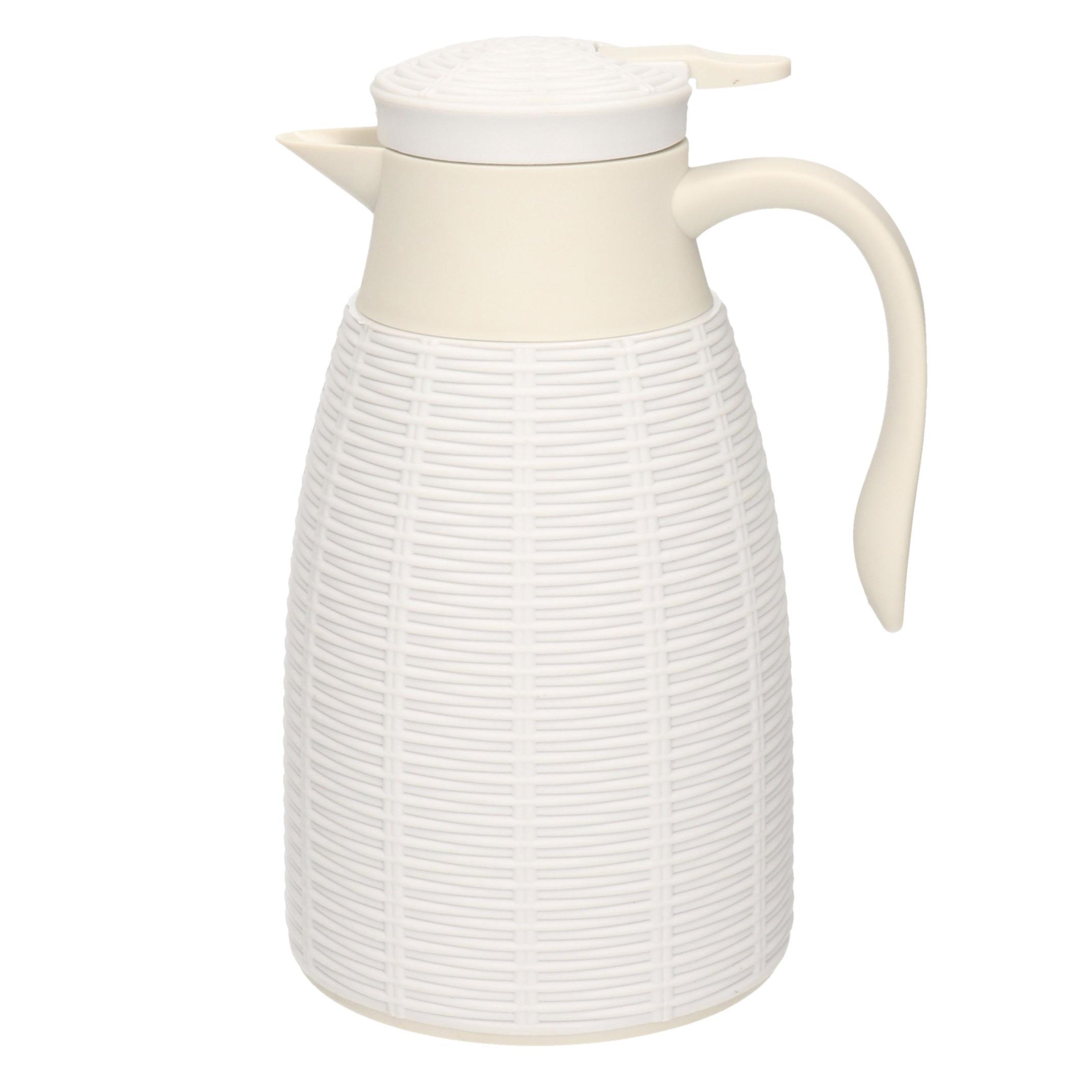 1x Witte rotan koffiekan/theekan 1 liter -