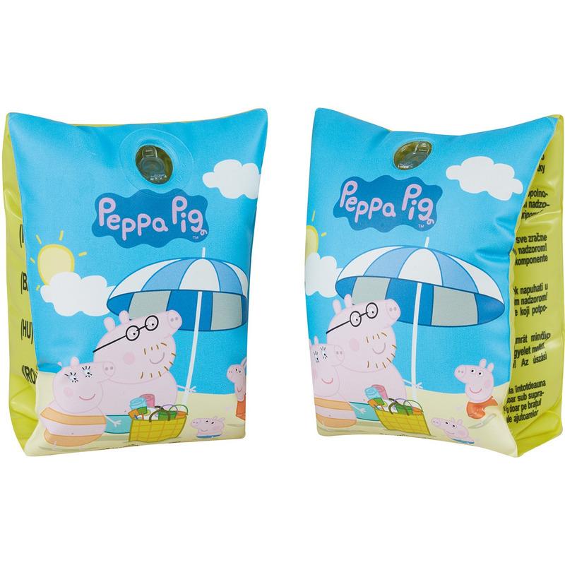 2x Blauwe/groene Peppa Pig/Big zwembandjes/zwemmouwtjes voor kinderen 11 tot 30 kilogram