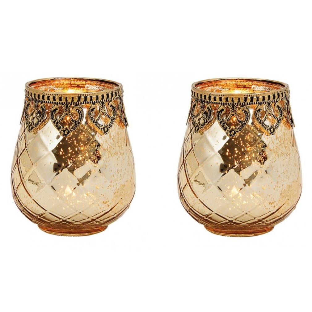 2x Glazen kaarsenhouders voor theelichtjes/waxinelichtjes 9 x 10 cm Oosters -