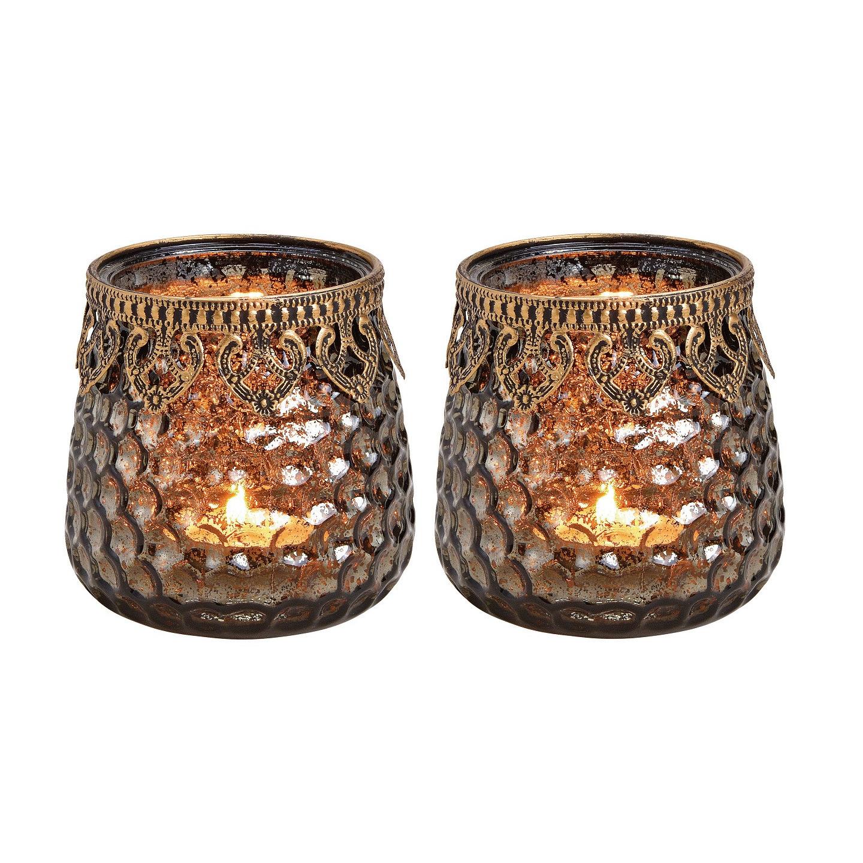 2x Glazen kaarsenhouders voor theelichtjes/waxinelichtjes 9 x 9 cm antieklook/Oosters -