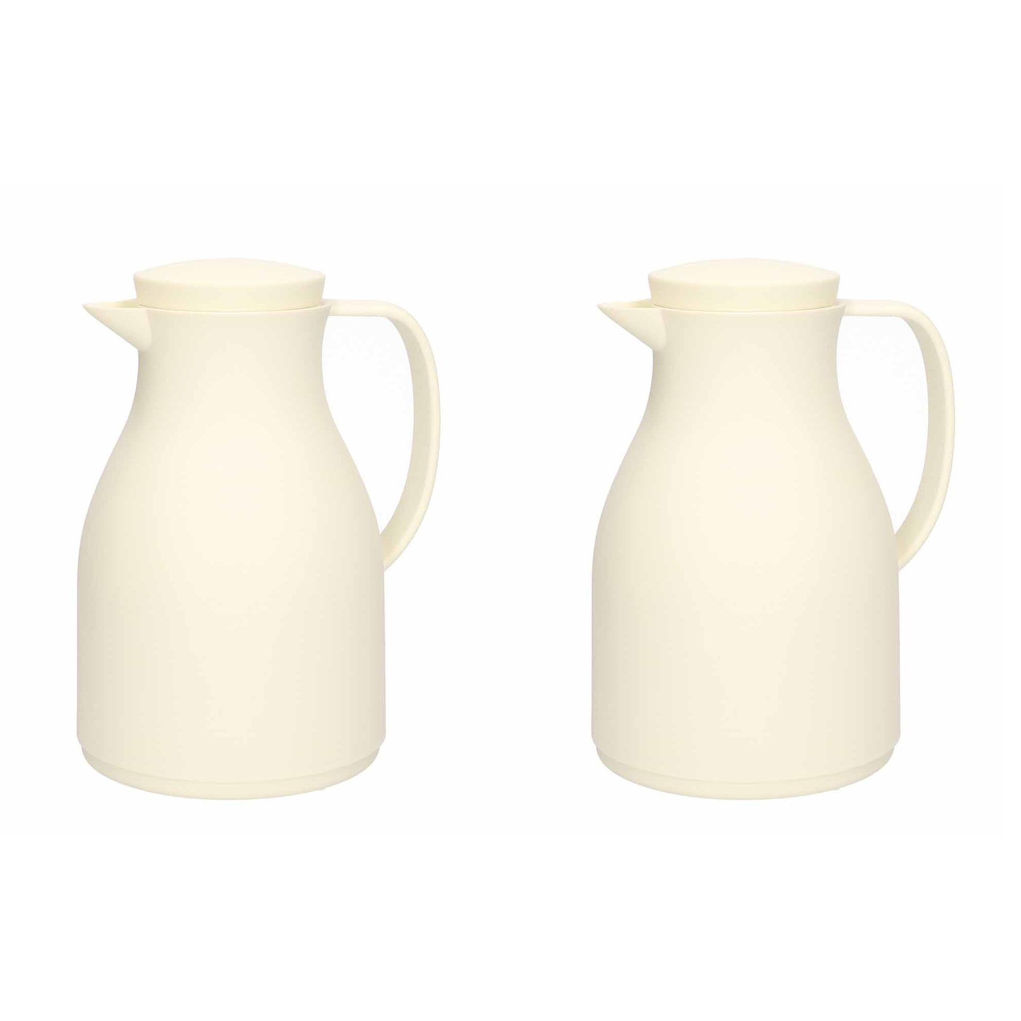 2x Isoleerkan/koffiekan wit 1 liter met drukknop -