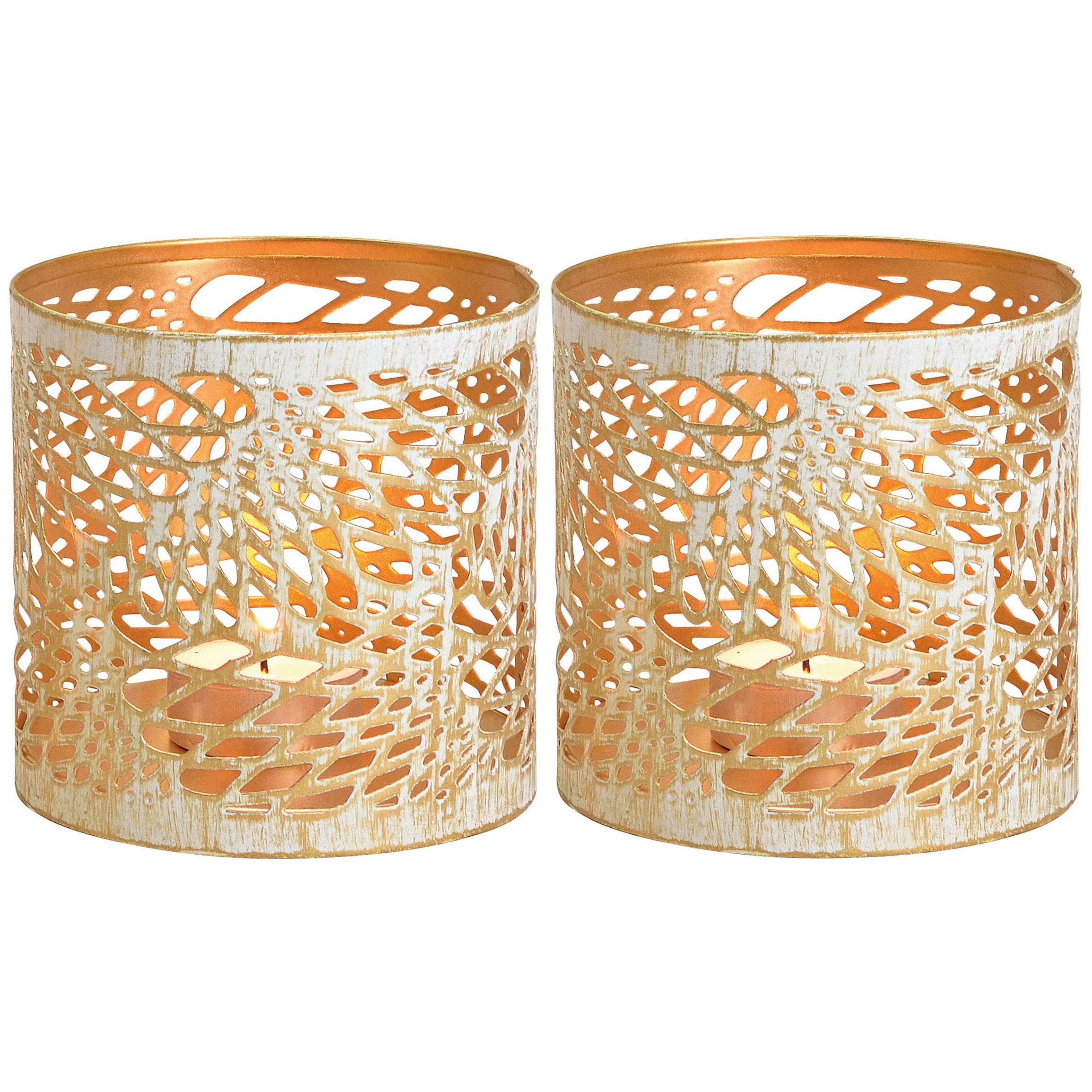 2x Kaarsenhouders voor theelichtjes/waxinelichtjes wit/goud abstract vleugel patroon 11 cm -