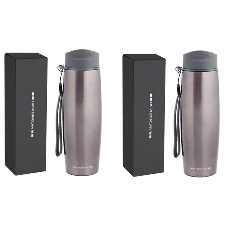 2x Luxe RVS isoleerflessen/thermosflessen design Antonio Miro 0.5 liter -