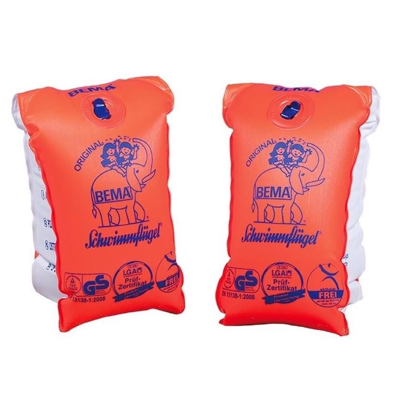 2x Oranje zwembandjes/zwemmouwtjes voor babies tot 11 kilogram -