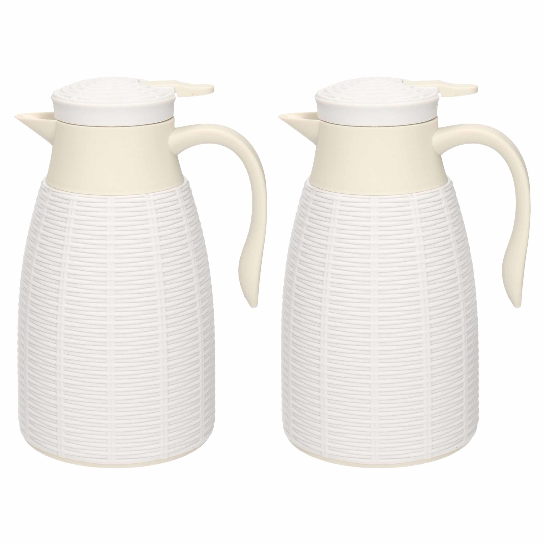 2x Witte rotan koffiekan/theekan 1 liter -