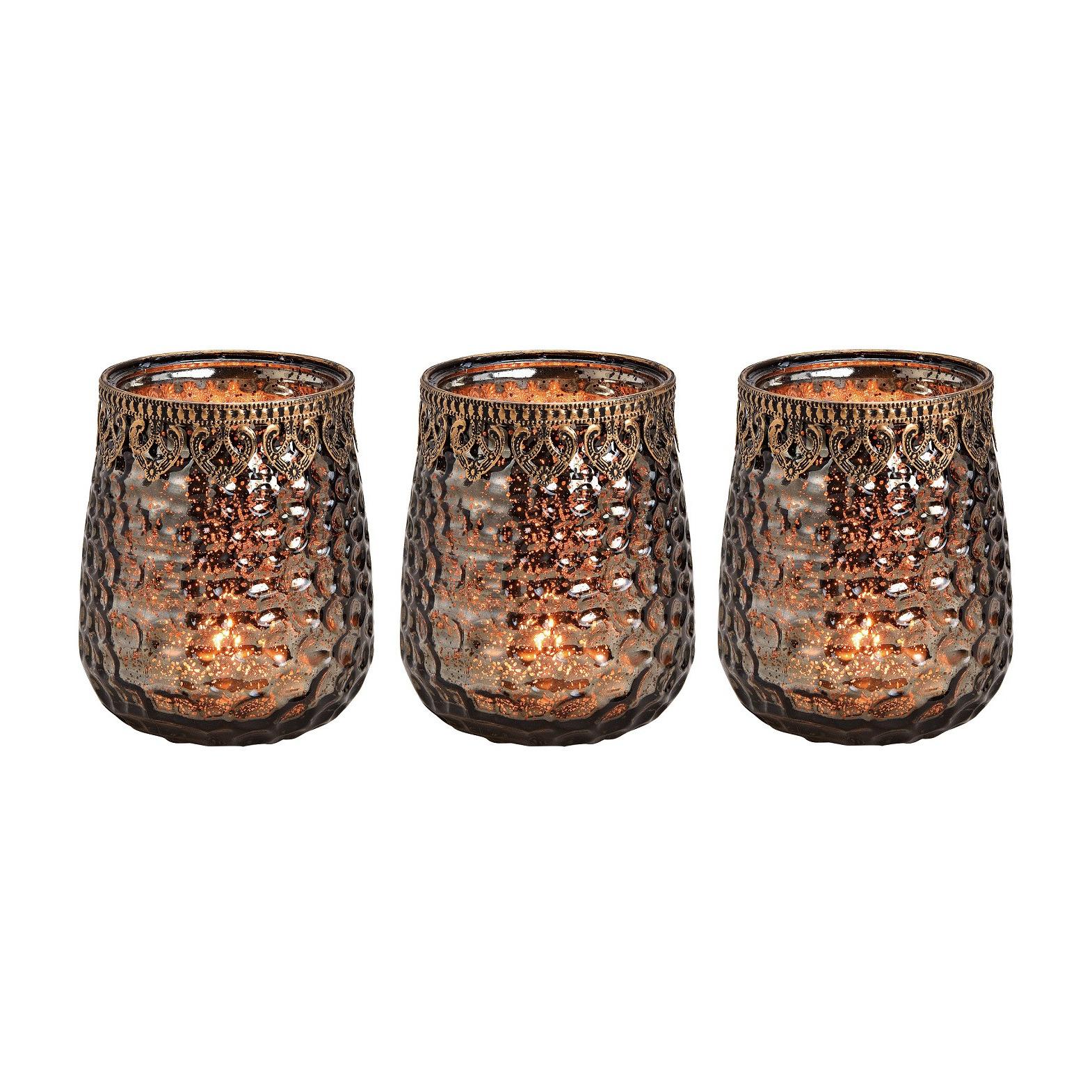 3x Glazen kaarsenhouders voor theelichtjes/waxinelichtjes 11 x 14 cm antieklook/Oosters -