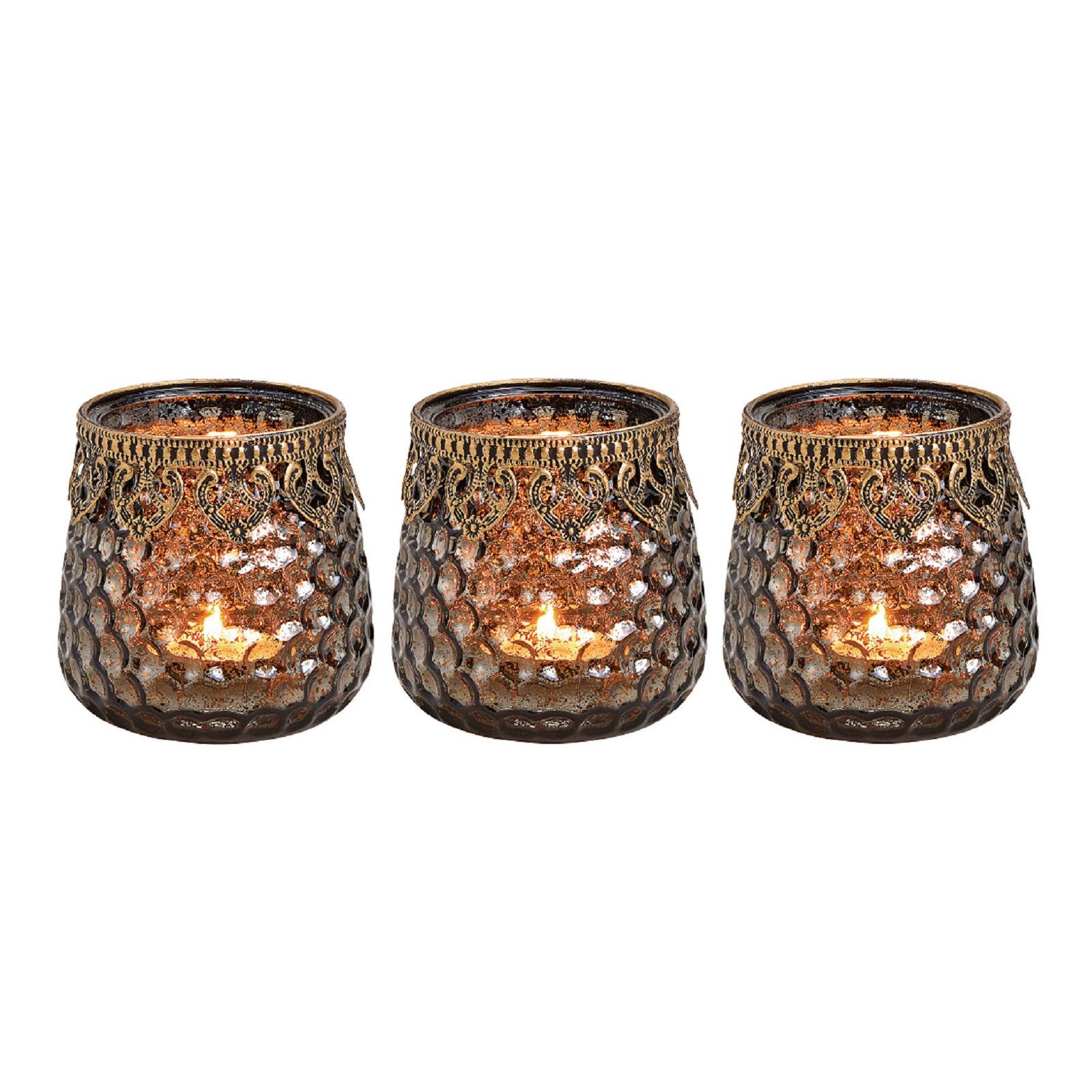 3x Glazen kaarsenhouders voor theelichtjes/waxinelichtjes 9 x 9 cm antieklook/Oosters -