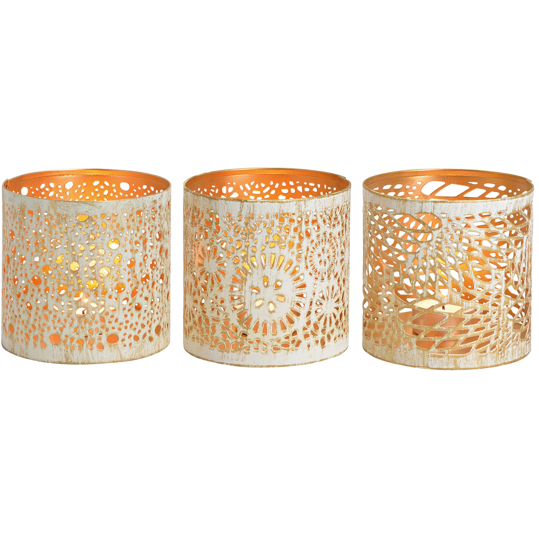 3x Kaarsenhouders set voor theelichtjes/waxinelichtjes wit/goud 11 cm -