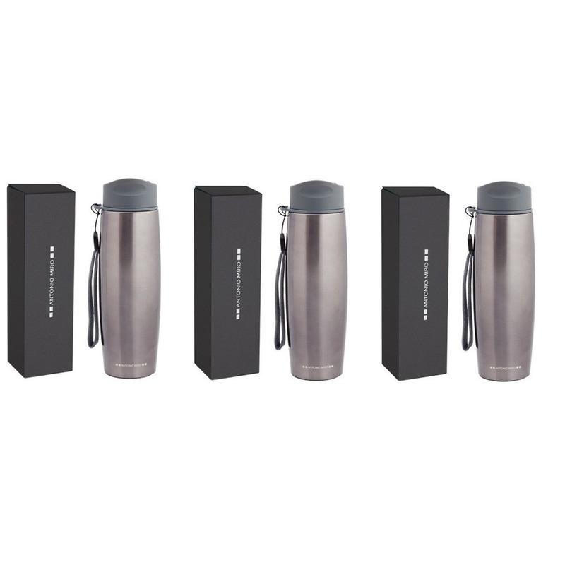 3x Luxe RVS isoleerflessen/thermosflessen design Antonio Miro 0.5 liter -