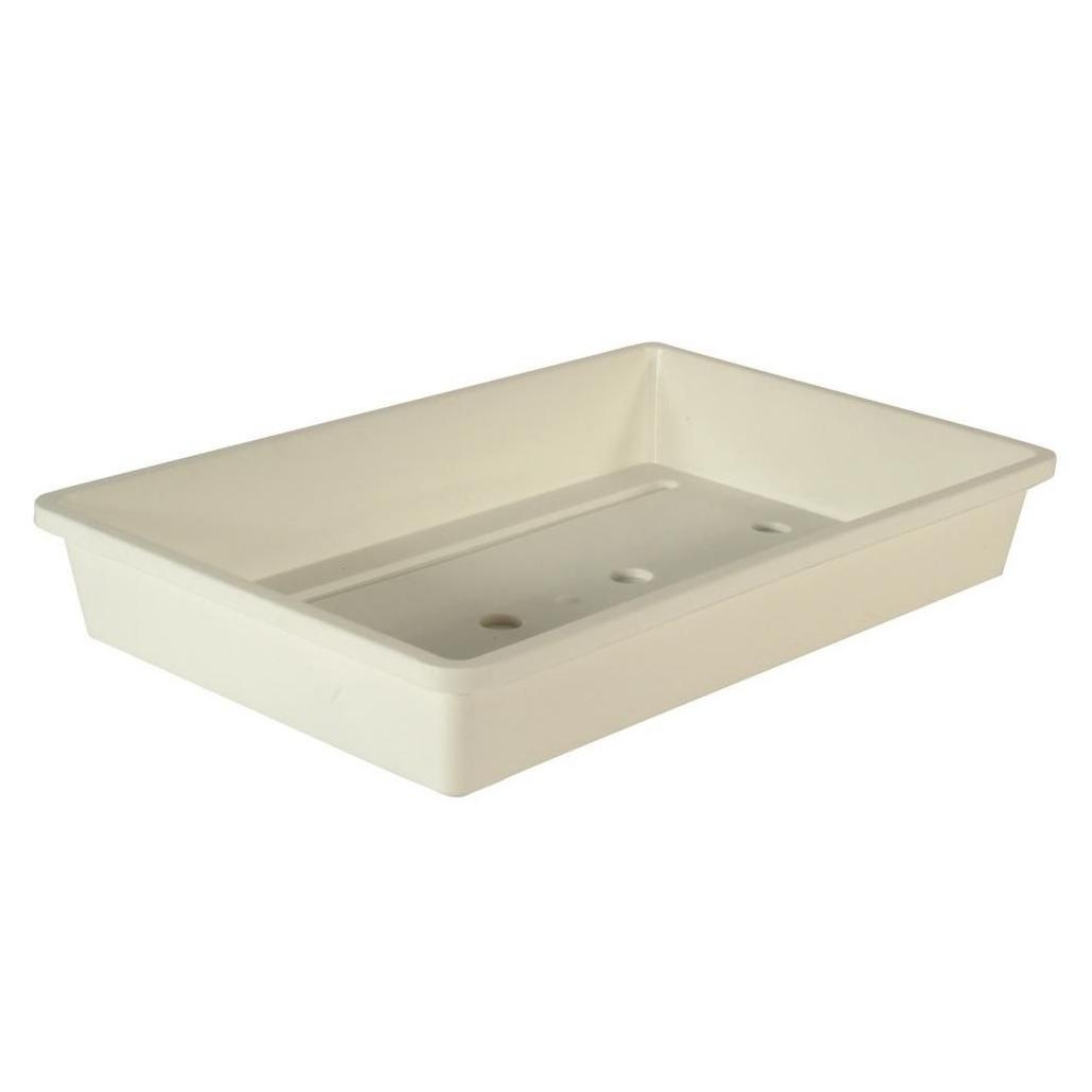 4x stuks rechthoekige kweekbak voor zaailingen wit kunststof 55 x 31 x 7,5 cm -