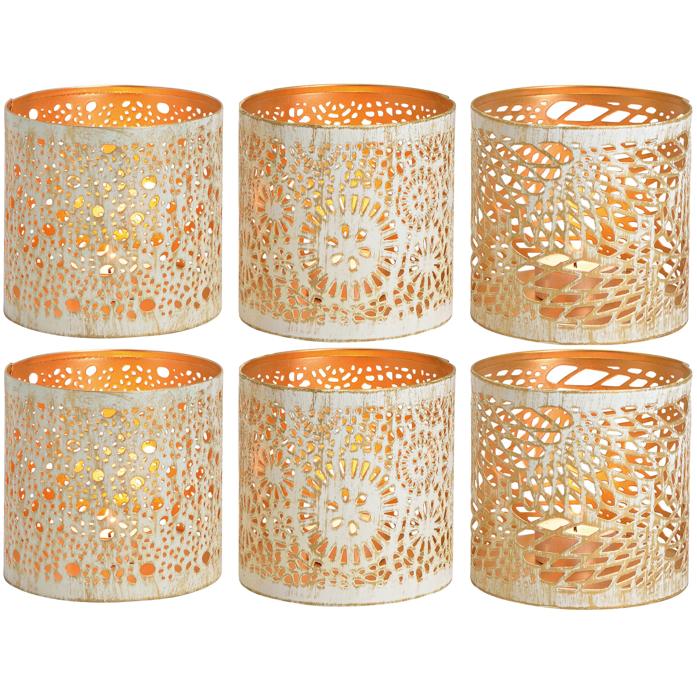 6x Kaarsenhouders set voor theelichtjes/waxinelichtjes wit/goud 11 cm -