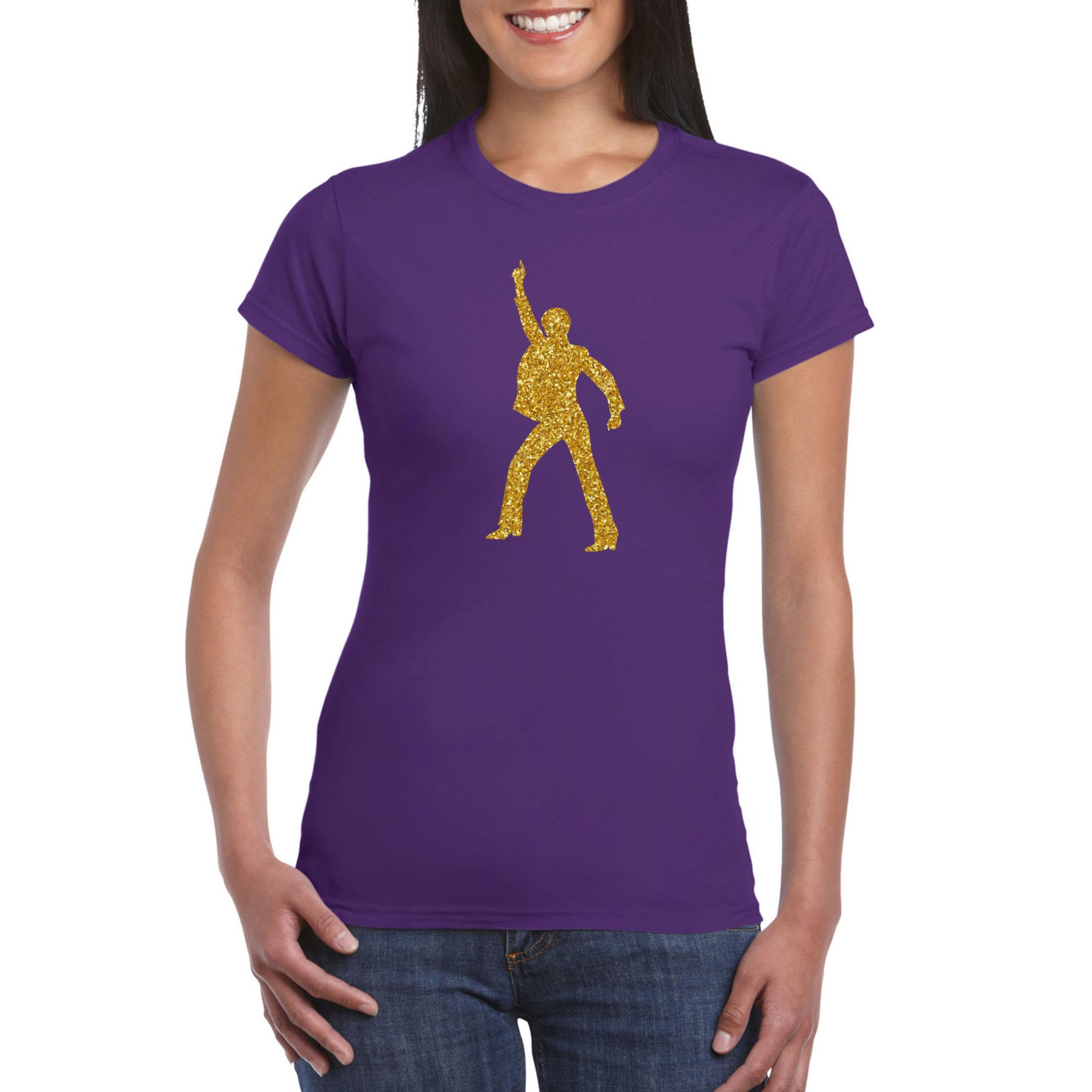 70s - 80s disco t-shirt paars voor dames