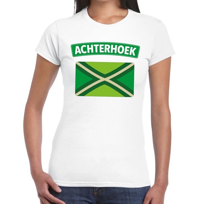 Achterhoeks t-shirt met vlag bedrukking wit voor dames