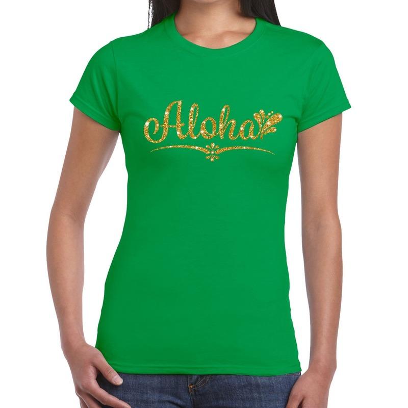 Aloha goud hawaii t-shirt groen voor dames