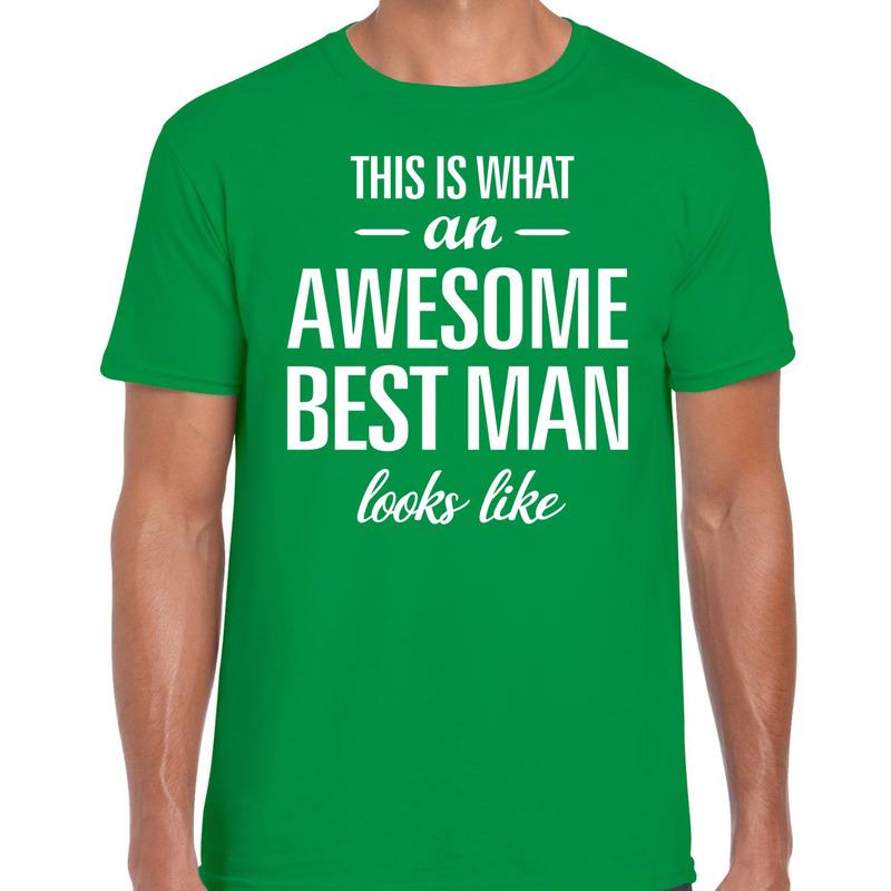 Awesome best man kado t-shirt groen voor heren