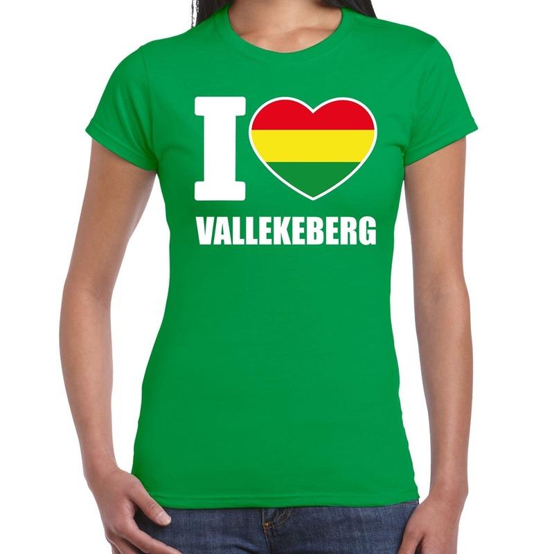 Carnaval I love Vallekeberg - Valkenburg t-shirt groen voor dames