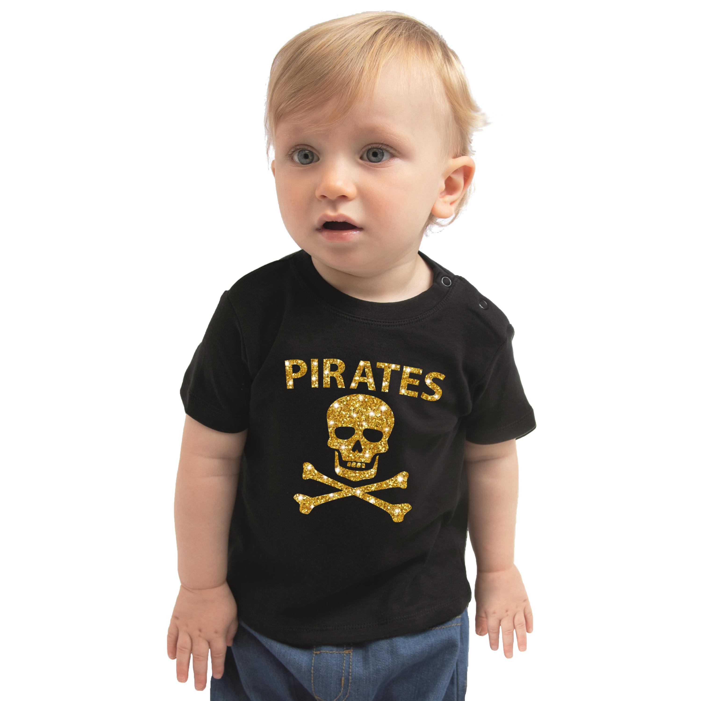 Carnaval piraten t-shirt - kostuum zwart voor baby jongen - meisje met gouden glitter bedrukking