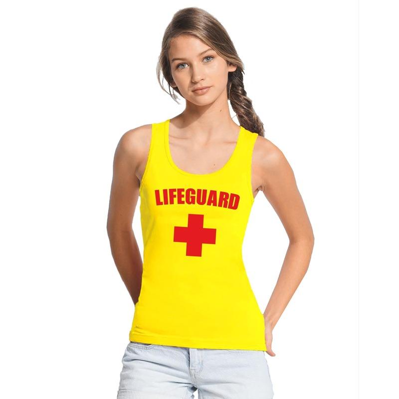 Carnaval reddingsbrigade/ lifeguard tanktop geel dames