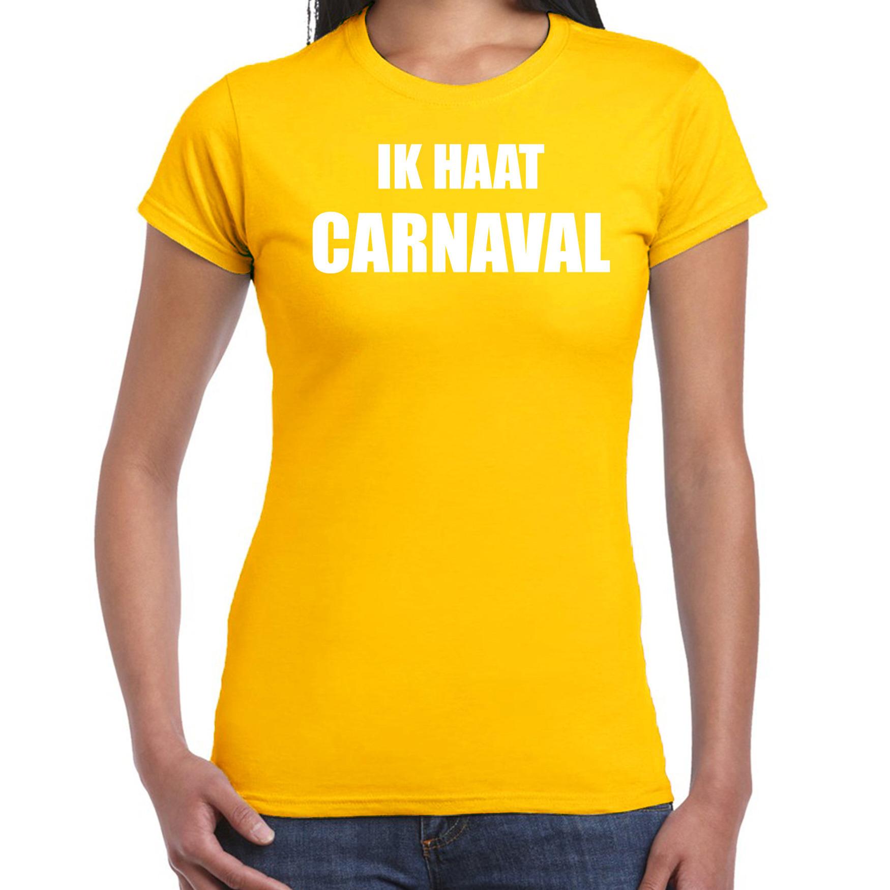 Carnaval verkleed shirt geel voor dames ik haat carnaval - kostuum