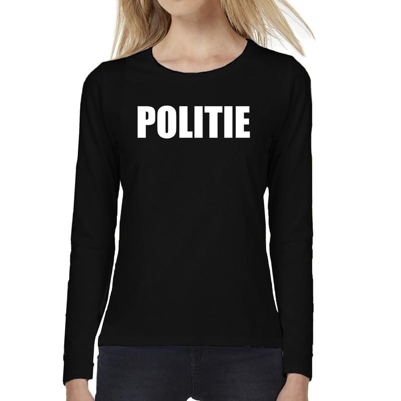 Dames fun text t-shirt long sleeve Politie zwart