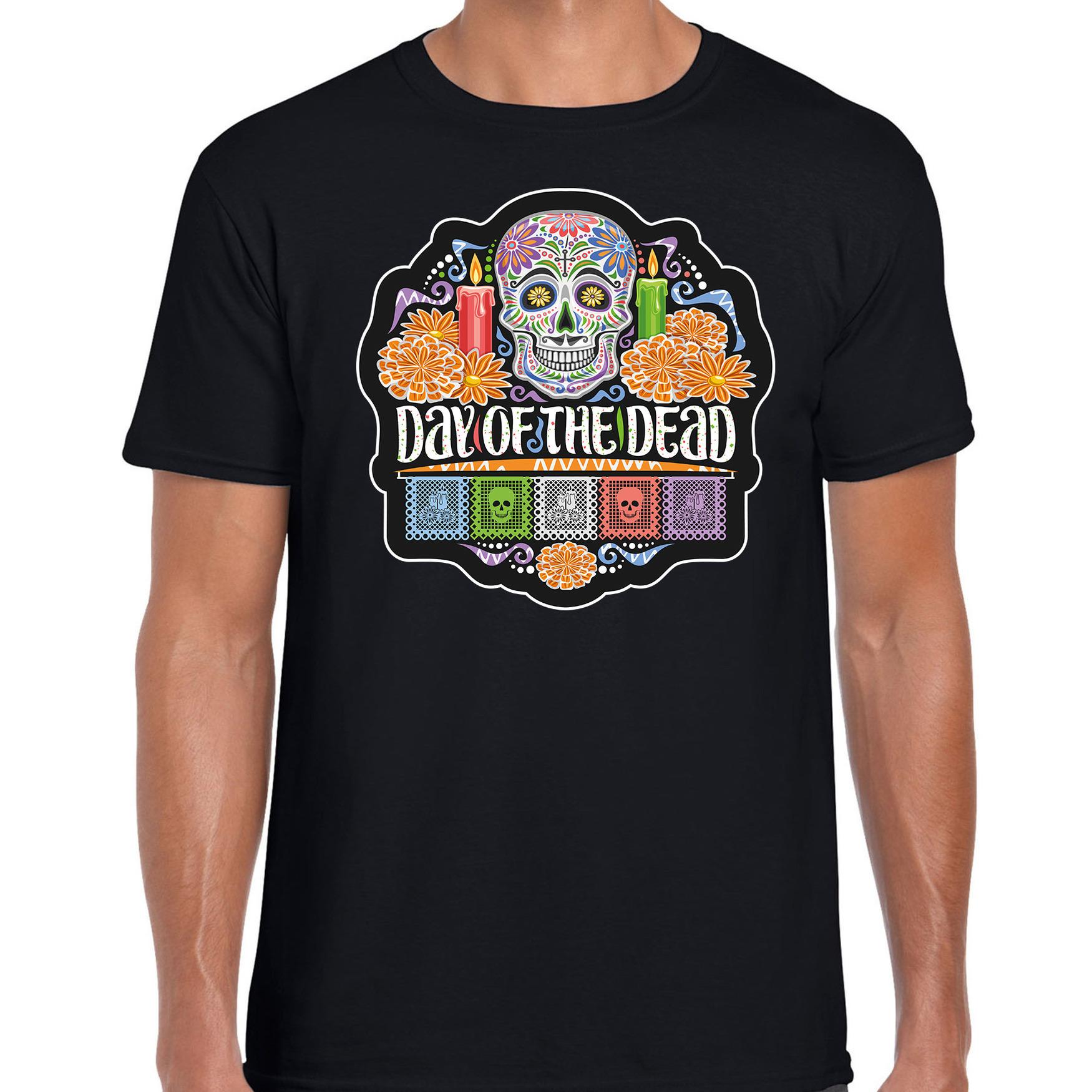 Day of the dead sugar skull horror - Halloween shirt - kostuum zwart voor heren
