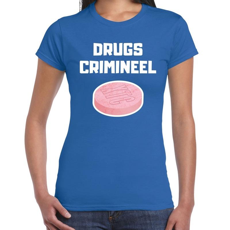 Drugs crimineel carnaval verkleed shirt blauw voor dames